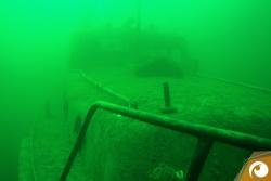 Tauchmasken-Test-2015-Die Motorbarkasse im Kulkwitzer See - hier bei unserem letzten Tauchgang