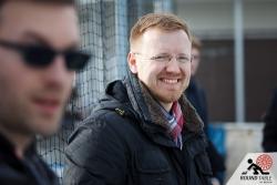 Björn Richerzhagen, so sehen glückliche Organisatoren aus | Bügelseisen Curling / Round Table 44 Berlin
