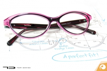 customized eyewear - engineering drawing and a finished spectacle frame